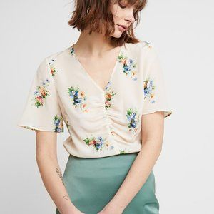 Madewell Silk Shirred Front Top in Classic Corsage